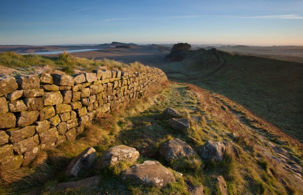 Dawn at Hadrian's Wall, a popular UK landscape photography location.
