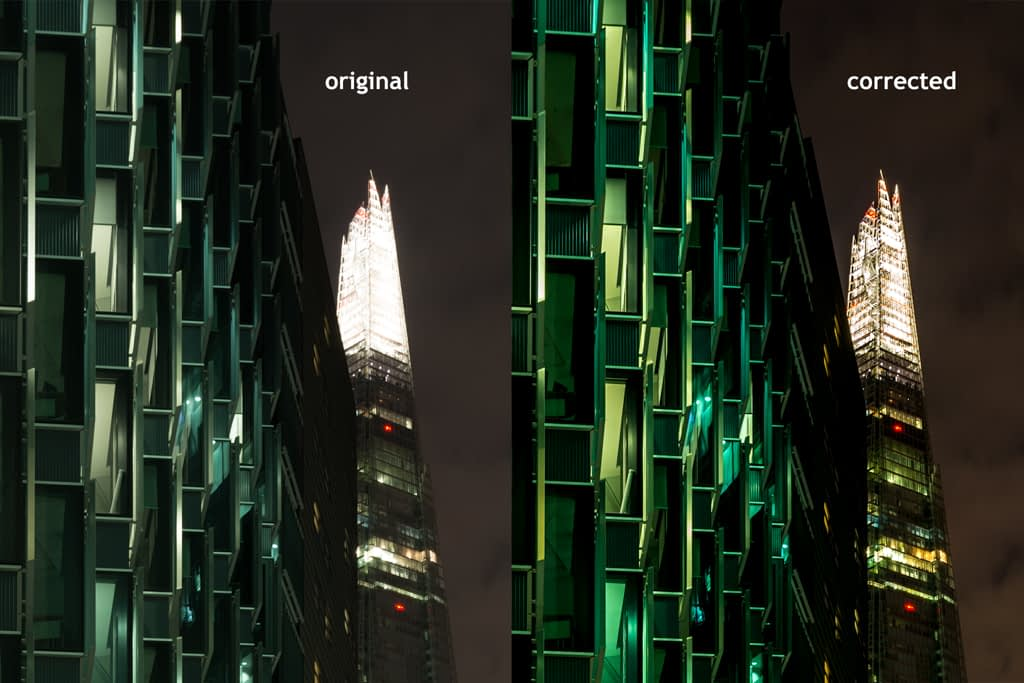 The Shard - A comparison between an original and corrected image
